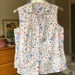 Charter Club White Button Down Print Shirt Blouse